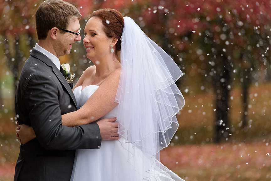 Snowy wedding photo of bride and groom at Beaver Lake, Montreal
