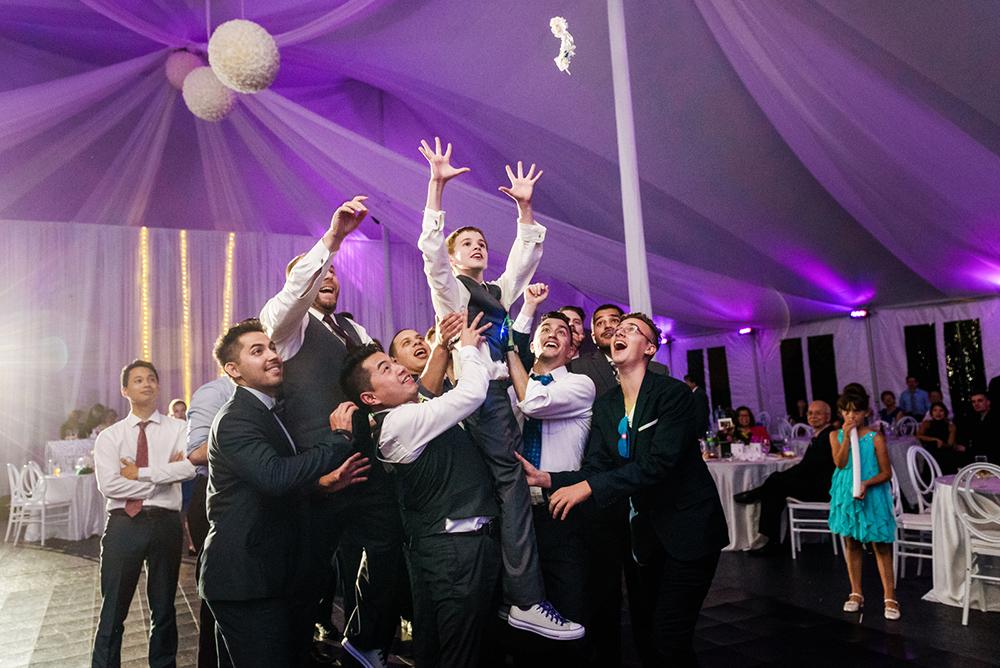 Garter tossed at wedding reception