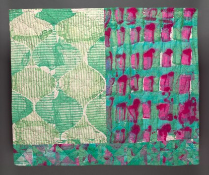 """Esther S White, A Measured Routine, 2016, 42""""x35""""; cotton, fiber-reactive dye; screen printed and painted, machine stitched and quilted"""