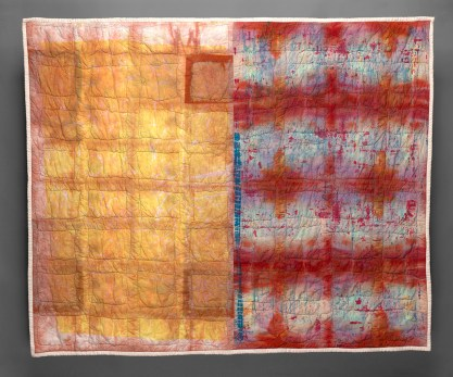 "Esther S White, Two Days, 2016, 51""x41""; cotton, fiber-reactive dye; deconstructed screen printed, hand dyed, machine stitched and quilted"
