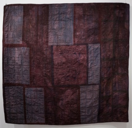 """Esther S White, Ready to go Home, 2016, 48""""x51""""; quilt: hospital gown, cotton, ber-reactive dye; hand-dyed, screen printed, machine stitched and quilted"""