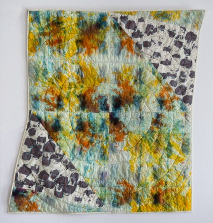 """ESW, Learning to Walk #1, 2016, 38""""x40""""; quilt: cotton, ber-reactive dye; relief printed, hand-dyed, deconstructed screen printed, machine stitched and quilted"""