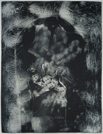 """Esther S White, Clothes that are too small or no longer needed (lacey bra and socks), 2017, gelatin plate monotype, 16""""x21"""""""
