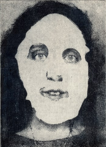 "ESW, Disappearing Woman, 2017; photocollagraph monoprint, 5""x7"""