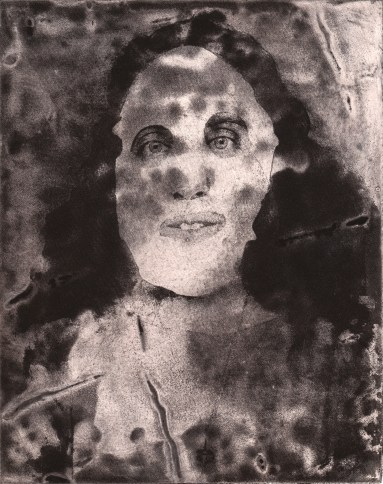"ESW, Disappearing Woman, 2017; photocollagraph monoprint, 8""x10"""