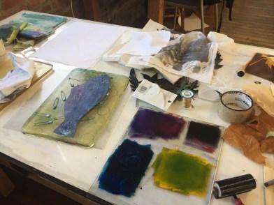 student workspace at Zea Mays Printmaking, Gelatin Plate Monotype workshop