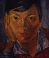 'Yellow Face (Female Face)', 1921, Kuzma Petrov-Vodkin