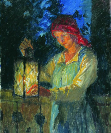 'Girl with Lantern', 1908, Nikolay Bogdanov-Belsky