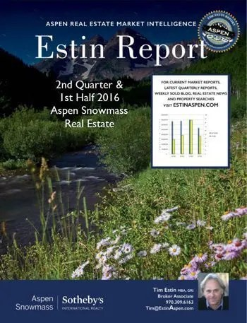 August 21 – 28, 2016 Estin Report: Last Week's Aspen Snowmass Real Estate Sales & Stats:   Closed (3) + Under Contract / Pending (16) Image