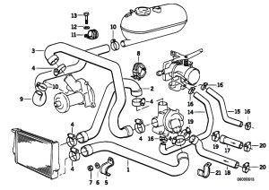 Original Parts for E30 325e M20 2 doors  Engine Cooling System Water Hoses  eStoreCentral