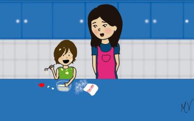 Aprendendo a cozinhar com a mamãe