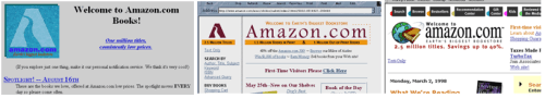 Primeros diseños de interfaz de Amazon.com