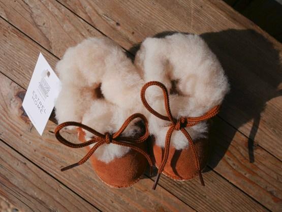 Chausson bébé fourré peau d'agneau