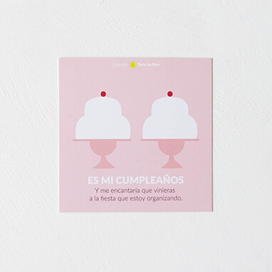 Invitación cumpleaños tarta rosa