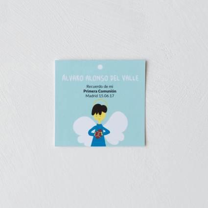 Recordatorio comunión cuadrado dibujo ángel