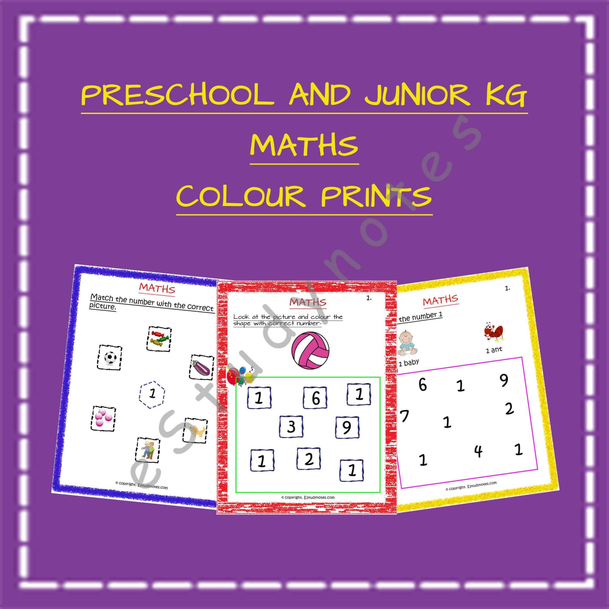 Nursery Amp Jr Kg Maths Worksheets Colour Prints 66