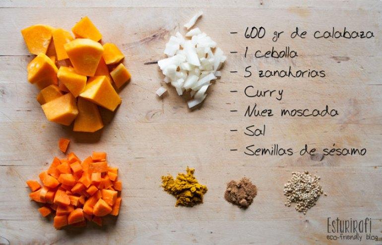 600 gramos de calabaza, 1 cebolla, 5 zanahorias, curry, nuez moscada, sal , semillas de sesamo