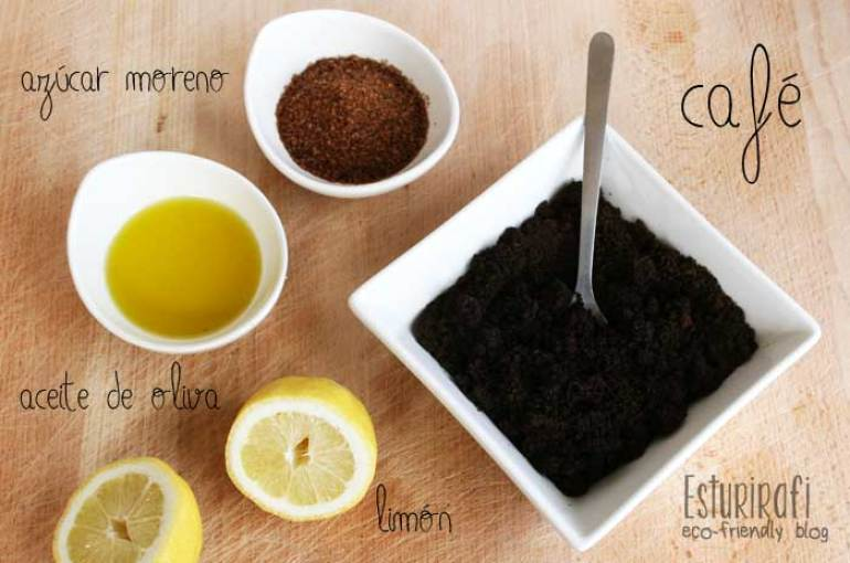 Café, aceite de oliva, azúcar moreno, limón. Ingredientes exfoliante casero de café