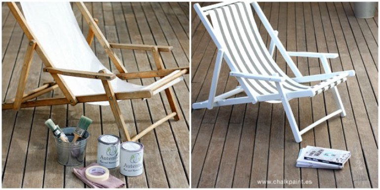 5 DIY para tu terraza. Pintar tumbona de madera de blanco