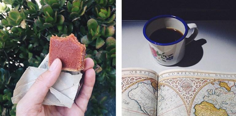 A la izquierda, una merienda rica y cero residuos: dulce de guayaba empacado en hoja de bijao. A la derecha, mi taza viajera para tomar café sin necesidad de usar vasos desechables.