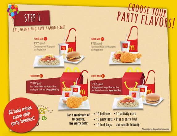 Mc Donalds Party Package