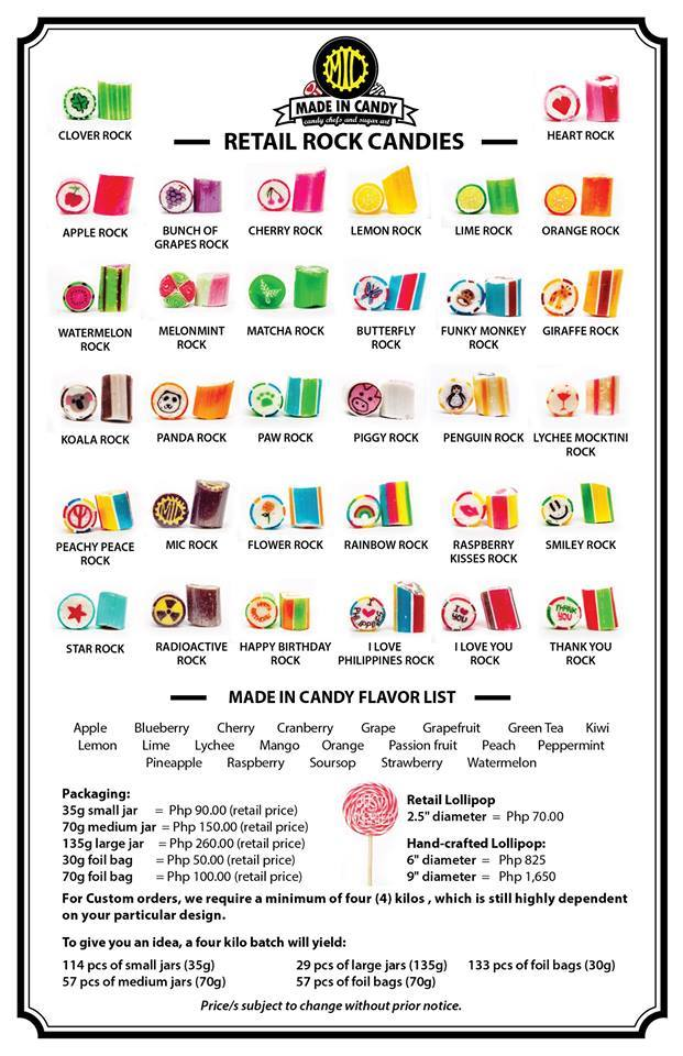 Made in Candy Product List and pricing