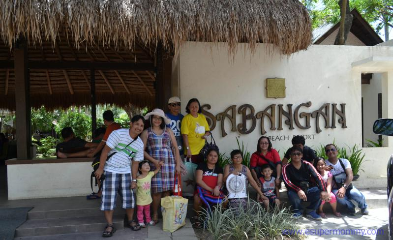 Mommy Jem with family at Sabangan Beach Resort Entrance