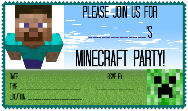 Friendly minecraft invitation printable experience of a super mommy minecraft party invitation solutioingenieria Image collections