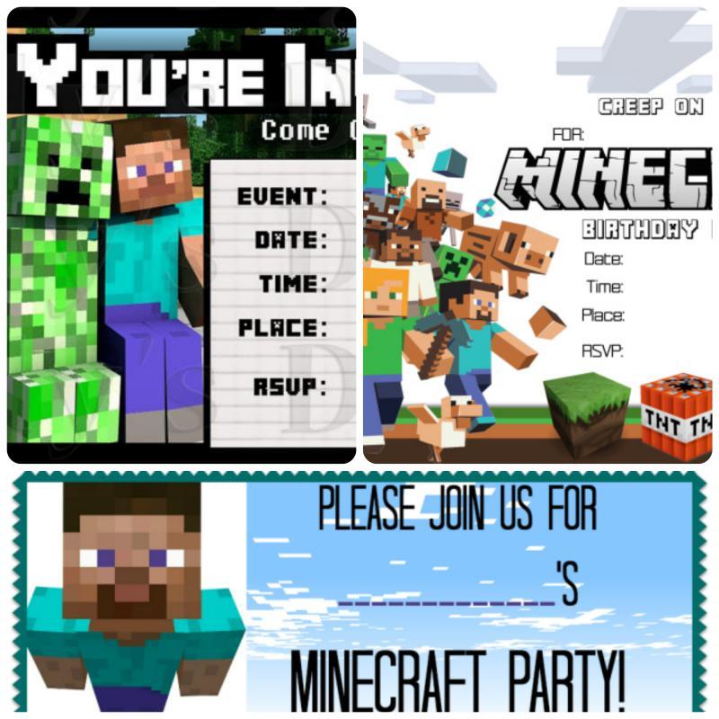 Minecraft invitation card collage