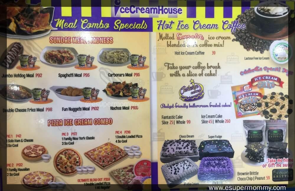 Ice Cream House Menu