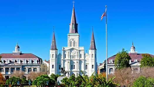 The St. Louis Cathedral clock tower.