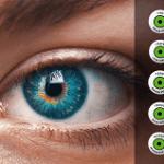 Imagen ojo. A la derecha distintivo tengo baja visión en 5 idiomas