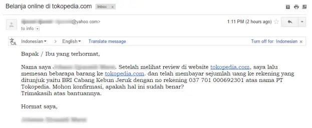E-mail Pembeli Tokopedia