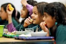 children eating at canteen