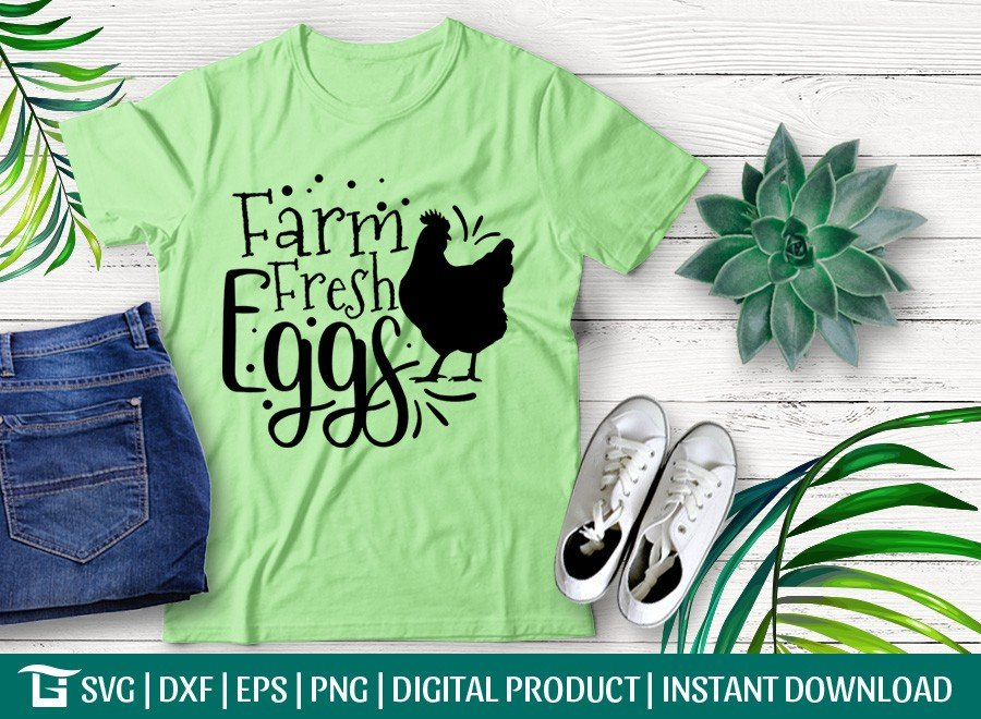 Farm Fresh Eggs SVG | Farmhouse SVG | T-shirt Design