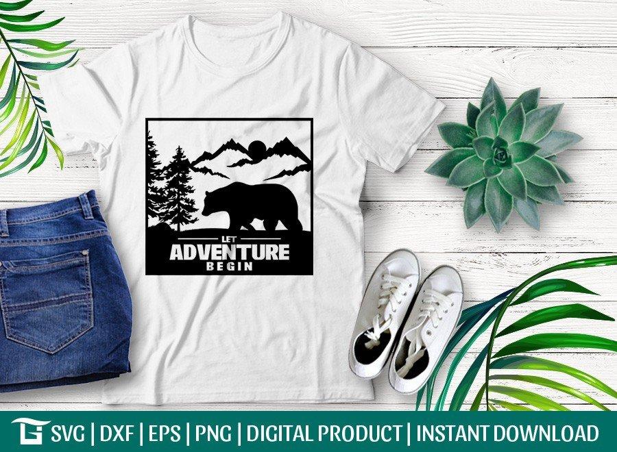 Let Adventure Begin SVG | Forest Bear SVG | T-shirt Design