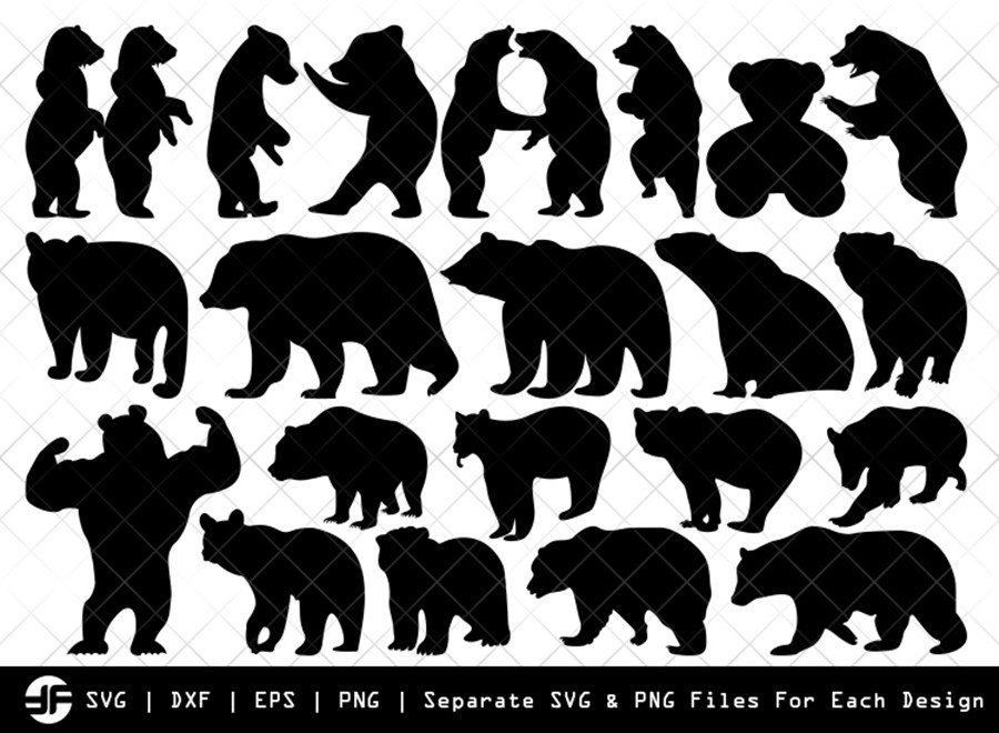 Bear SVG | Animal SVG | Silhouette Bundle | SVG Cut File