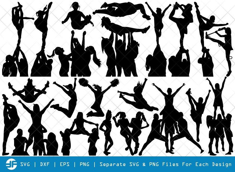 Cheer Stunt SVG Cut Files | Cheer Team Silhouette Bundle