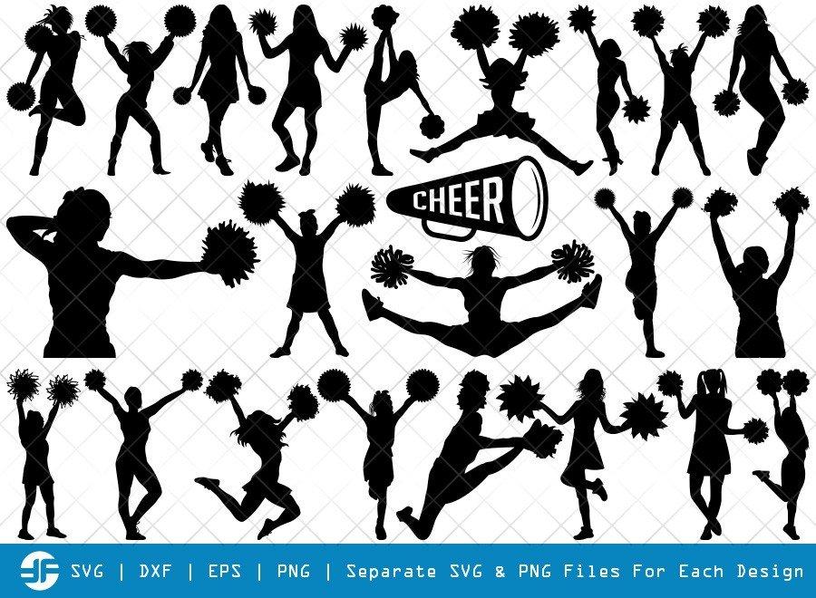Cheerleader SVG Cut Files   Cheer Girls Silhouette Bundle