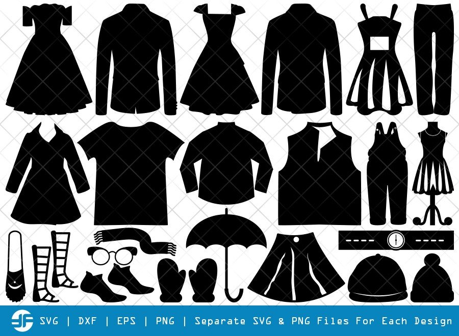 Cloths SVG Cut Files | Fashion Stand Silhouette Bundle