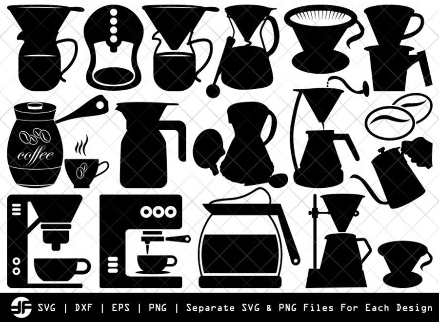 Coffee Maker Set SVG | Silhouette Bundle | SVG Cut File