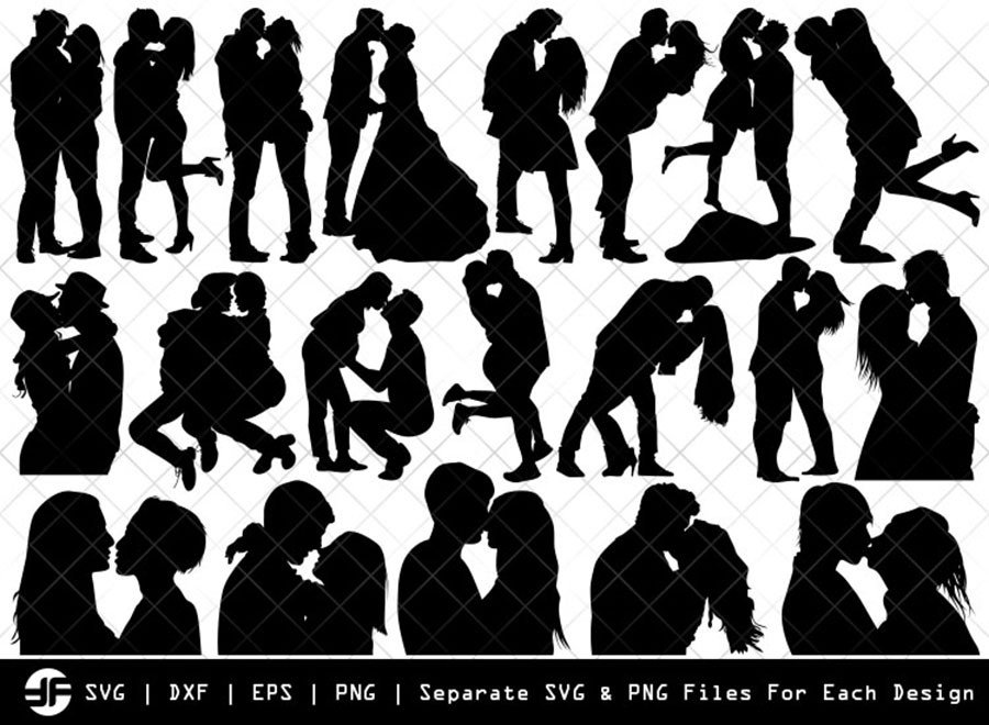Couple Kissing SVG | Silhouette Bundle | SVG Cut File