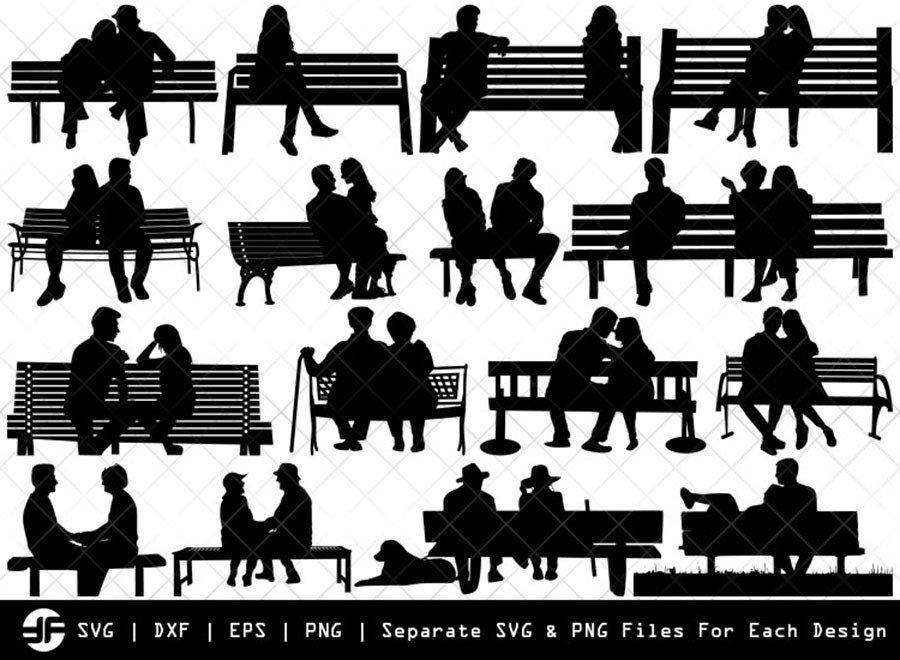 Couple On A Bench SVG | Silhouette Bundle | SVG Cut File