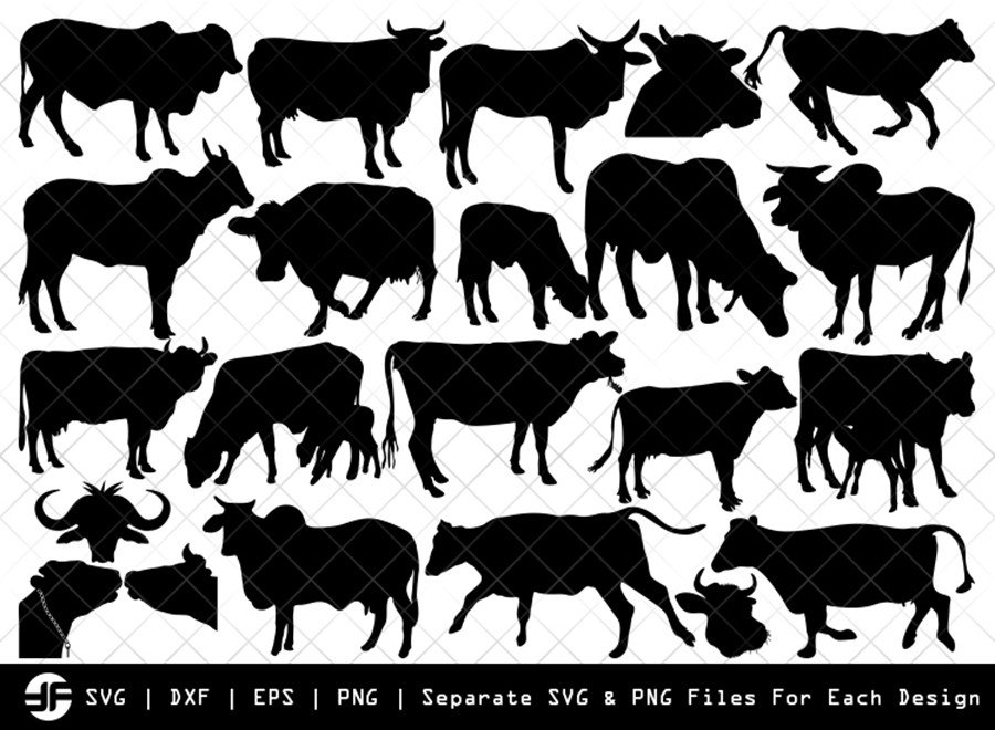 Cow SVG | Animal SVG | Silhouette Bundle | SVG Cut File