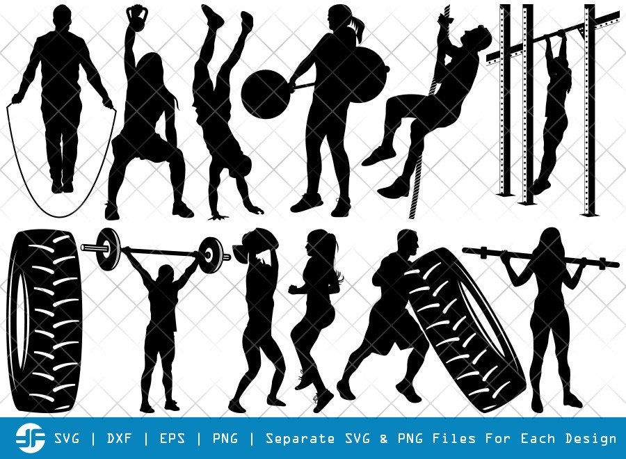 Cross Fit SVG Cut Files | Workout Silhouette Bundle