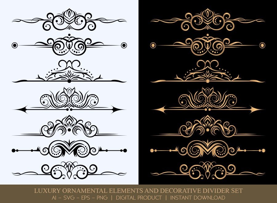 Luxury Decorative Divider Set SVG Cut Files | DDS002
