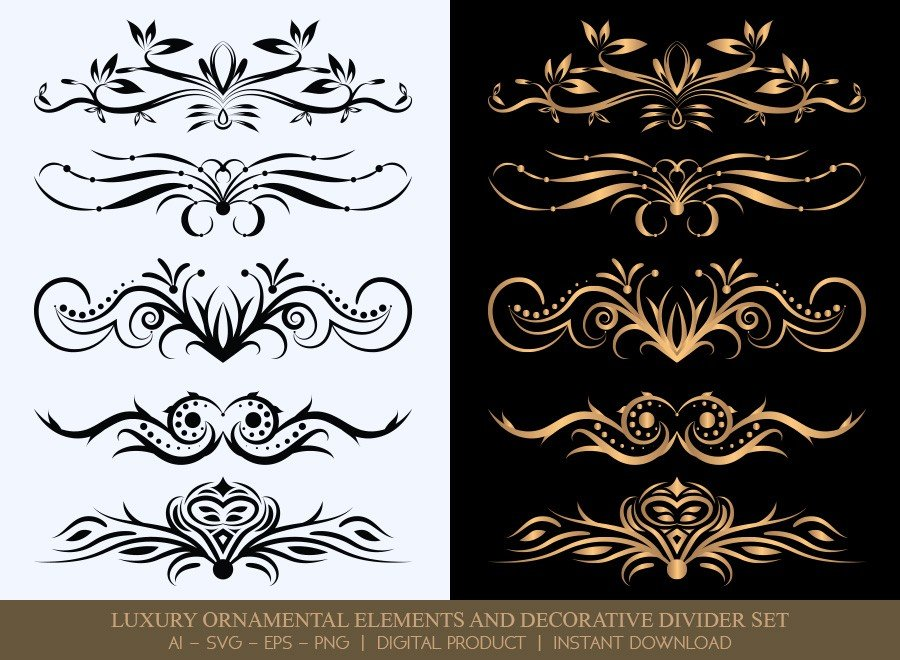 Luxury Decorative Divider Set SVG Cut Files | DDS014