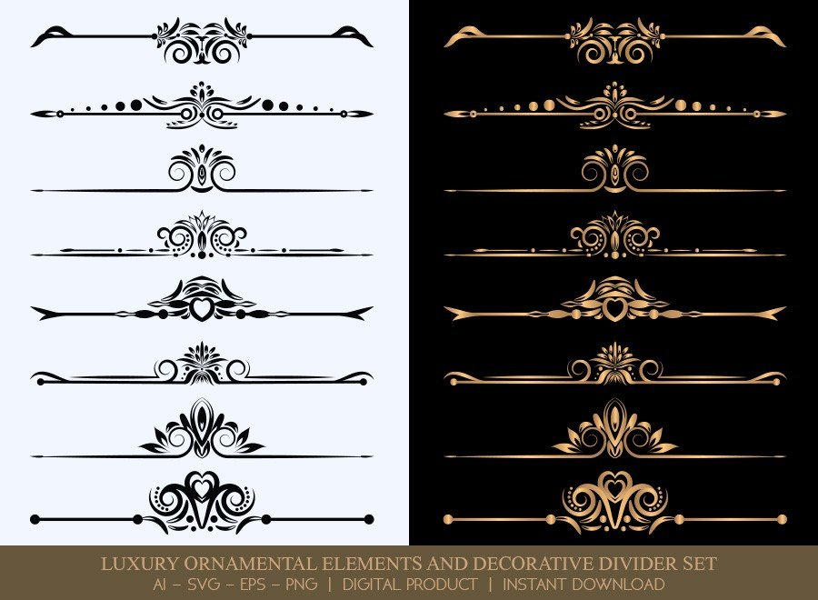Luxury Decorative Divider Set SVG Cut Files | DDS015