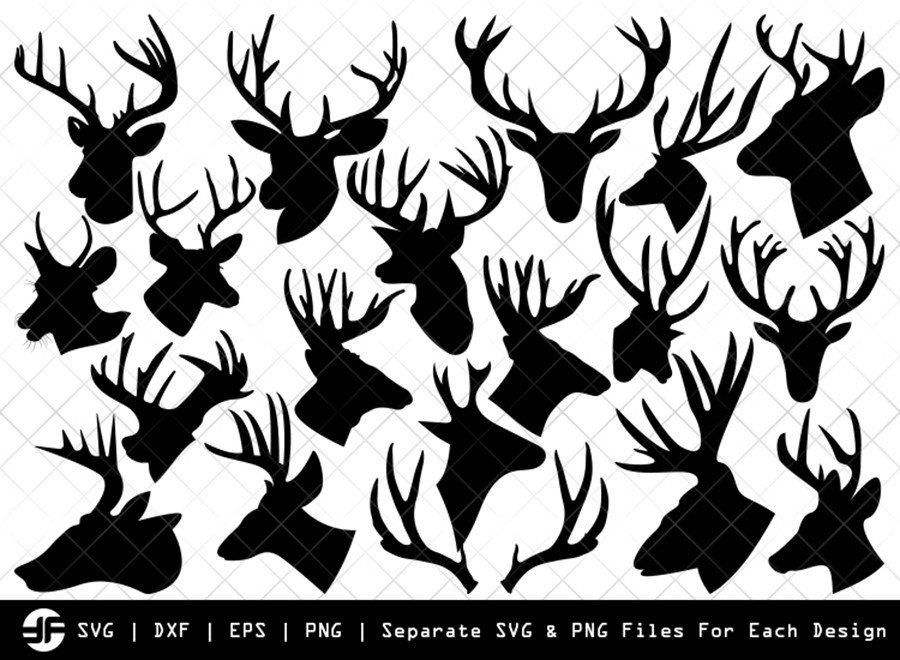 Deer Head SVG | Animal SVG | Silhouette Bundle | Cut File