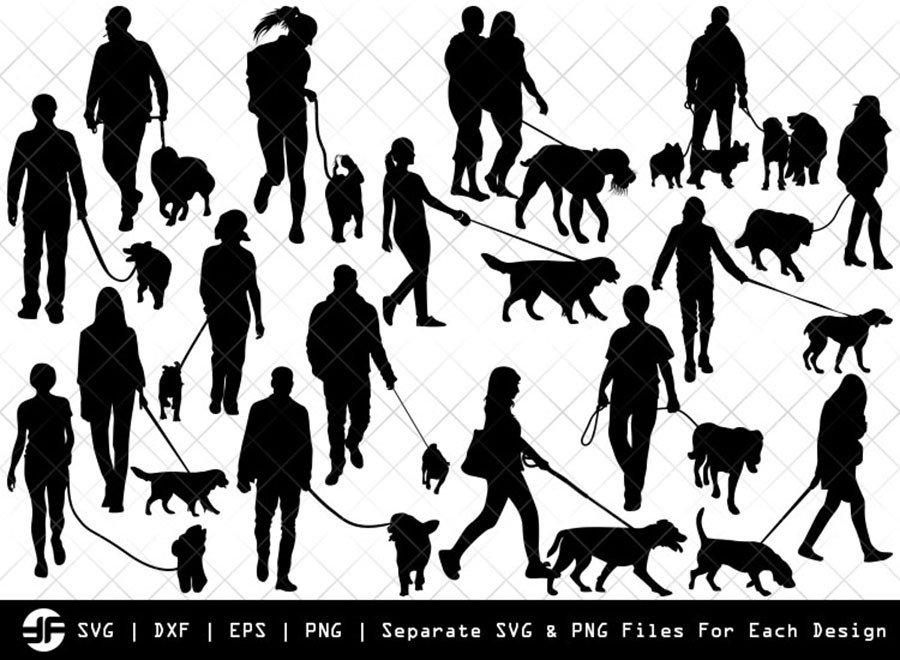 Dog Walker SVG | Silhouette Bundle | SVG Cut File